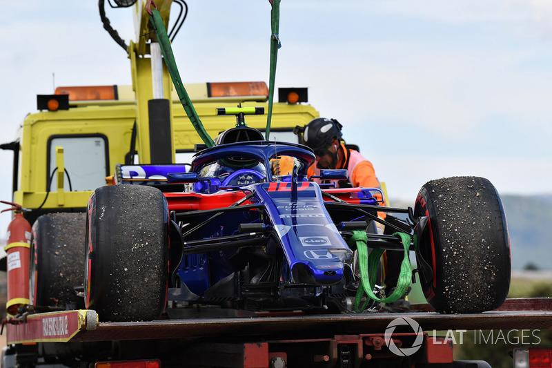La monoposto del ritirato Pierre Gasly, Scuderia Toro Rosso STR13