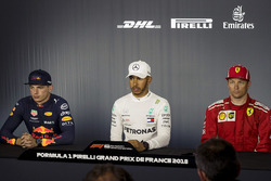 Max Verstappen, Red Bull Racing, Lewis Hamilton, Mercedes-AMG F1 and Kimi Raikkonen, Ferrari in the Press Conference