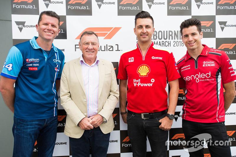 Garth Tander, Garry Rogers Motorsport, racing legend Larry Perkins, Fabian Coulthard, Team Penske and Rick Kelly, Nissan Motorsports