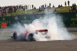 Sebastian Vettel, Ferrari SF71H spins after clashing with Max Verstappen, Red Bull Racing RB14