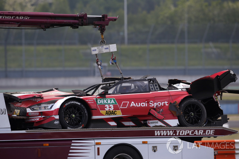 The car of René Rast, Audi Sport Team Rosberg after the crash