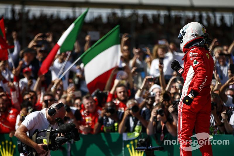 Sebastian Vettel, Ferrari, dans le parc fermé