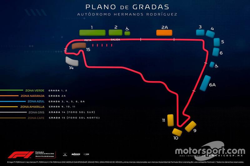 Plano de gradas para el GP de México