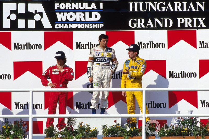 Podio: Nelson Piquet,Williams, Alain Prost, McLaren y third place Ayrton Senna, Lotus