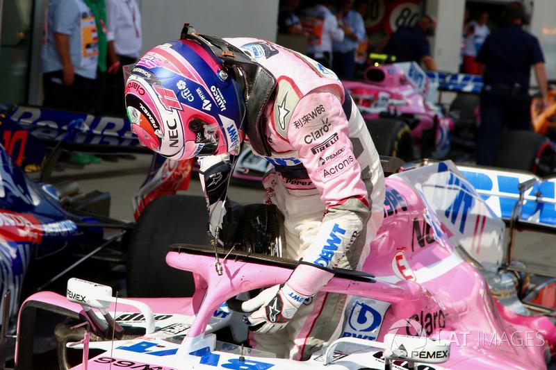 Sergio Perez, Force India VJM11 en parc ferme