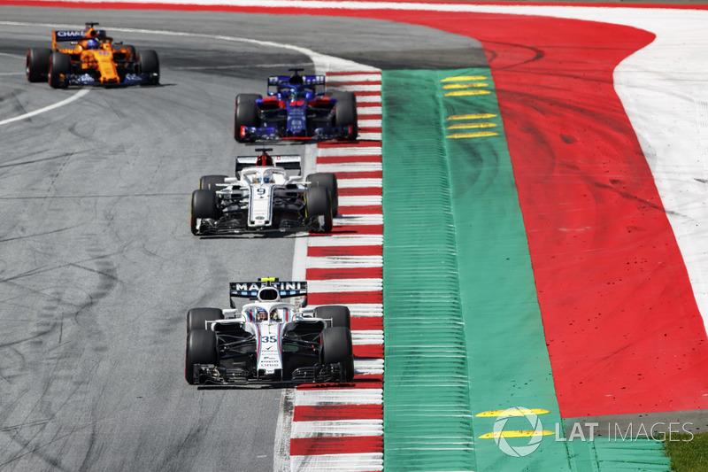 Sergey Sirotkin, Williams FW41, Marcus Ericsson, Sauber C37, Brendon Hartley, Toro Rosso STR13, Fernando Alonso, McLaren MCL33