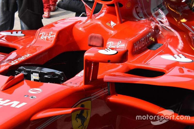 Детали кокпита Ferrari SF70H, рассчитанного для установки «Щита»