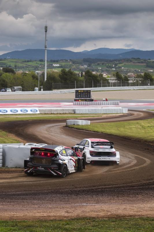 Toomas Heikkinen, EKS, Audi S1 EKS RX Quattro; Timo Scheider, MJP Racing Team Austria, Ford Fiesta S