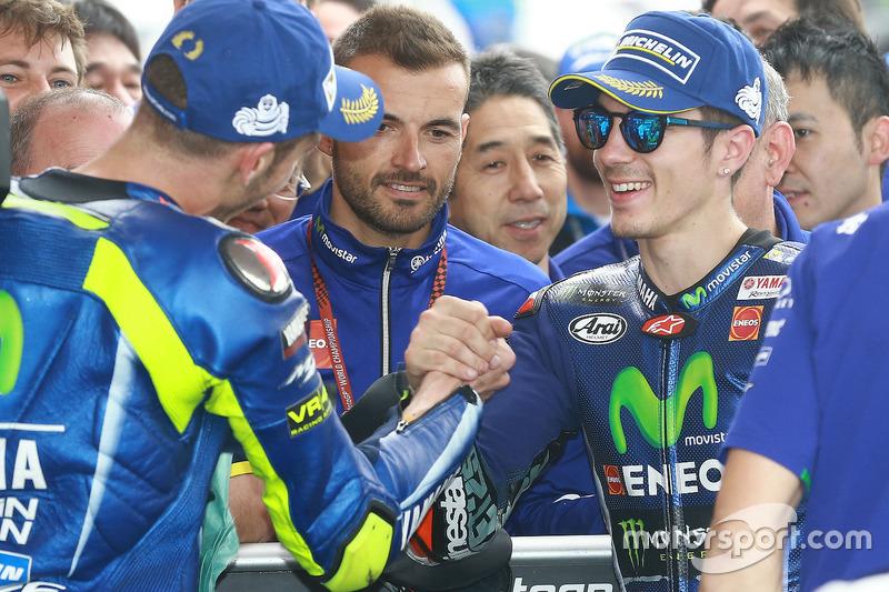 2. Valentino Rossi, Yamaha Factory Racing; 1. Maverick Viñales, Yamaha Factory Racing