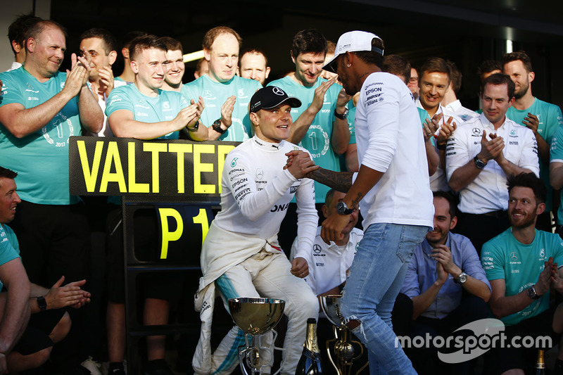 Valtteri Bottas, Mercedes AMG F1, is congratulated on his victory by Lewis Hamilton, Mercedes AMG F1