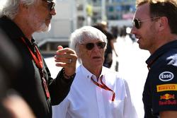 بيرني إكليستون، الرئيس الفخري للفورمولا واحد وفلافيو برياتوري وكريستيان هورنر، مدير فريق ريد بُل ريسينغ