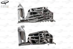 McLaren MP4-29 front wing comparison (upper, new)