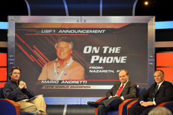Pressekonferenz USF1: Bob Varsha mit Ken Anderson und Peter Windsor