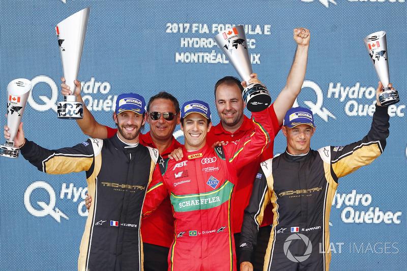 Ganador Lucas di Grassi, ABT Schaeffler Audi Sport, celebrates en el podio con Jean-Eric Vergne, Techeetah, y Stéphane Sarrazin, Techeetah