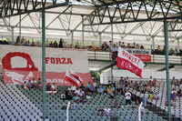 Fans of Robert Kubica, Renault Sport F1 Team, wait in the grandstand