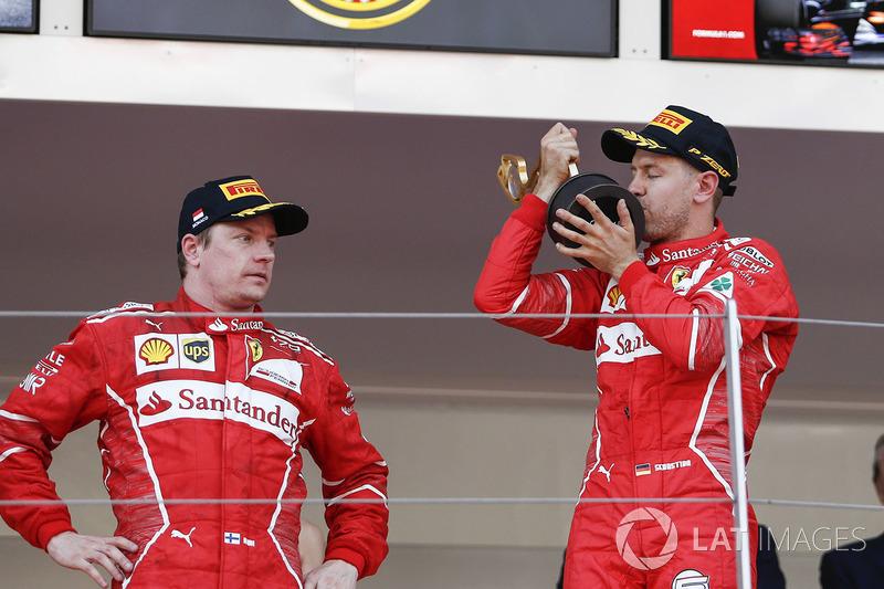 Race winner Sebastian Vettel, Ferrari, Kimi Raikkonen, Ferrari