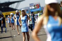 Grid girl of Tiago Monteiro, Honda Racing Team JAS, Honda Civic WTCC