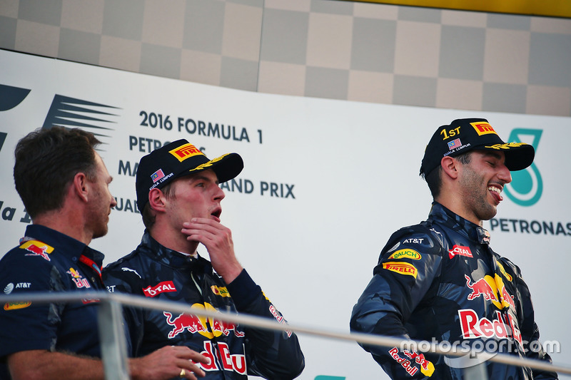 The podium (L to R): Christian Horner, Red Bull Racing Team Principal with second placed Max Verstap