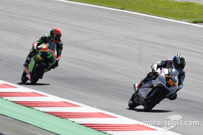 Albert Arenas, Peugeot MC Saxoprint, Peugeot; Adam Norrodin, Drive M7 SIC Racing Team, Honda