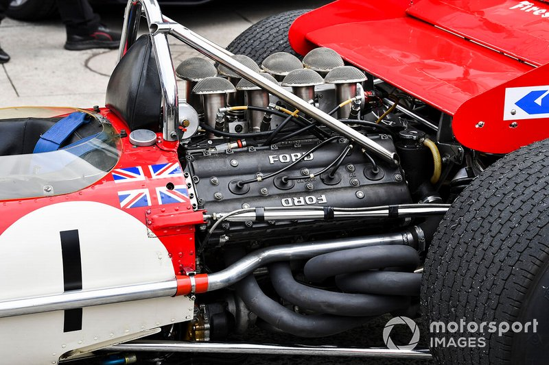 The Cosworth DFV engine of the Lotus 49 driven to the 1968 title by Graham Hill