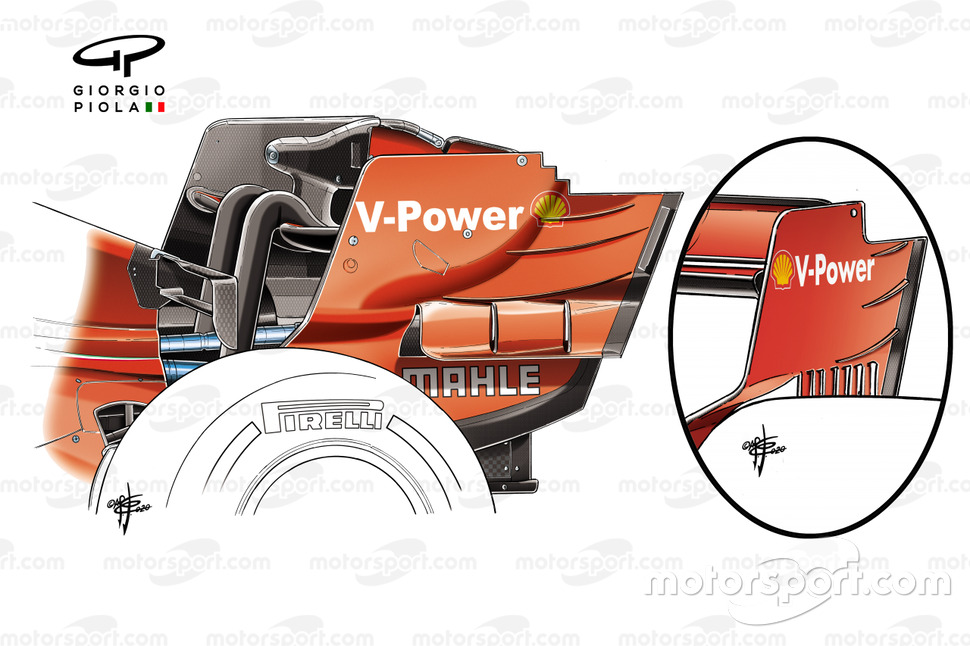 Ferrari SF1000 rear wing endplate comparison