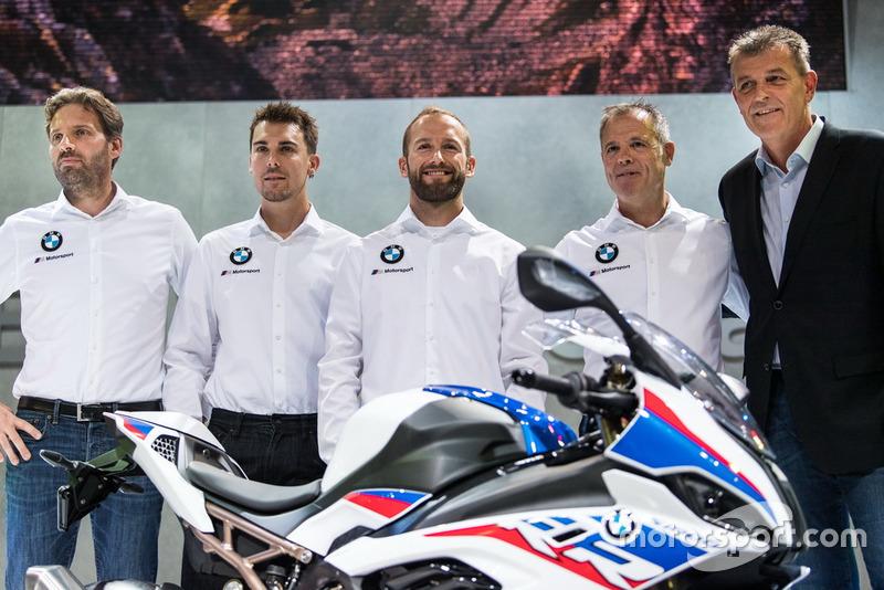 Marc Bongers, BMW Motorrad Motorsport Director, Markus Reiterberger, Tom Sykes, Shaun Muir, Team Director, Dr. Markus Schramm, jefe de BMW Motorrad