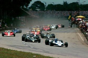 Start zum GP Brasilien 1979 in Sao Paulo: Jacques Laffite, Ligier JS11, führt