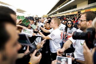 Valtteri Bottas, Mercedes AMG F1, signs an autograph