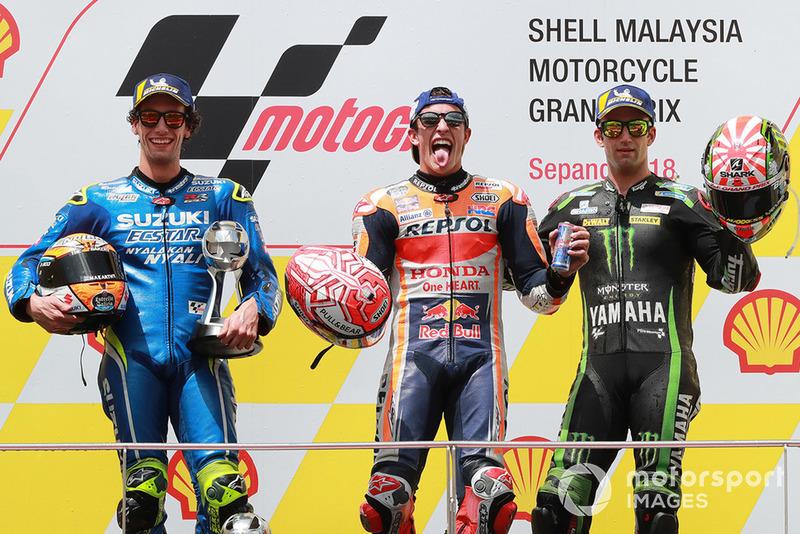 Podio: 1º Marc Marquez, 2º Alex Rins, 3º Johann Zarco