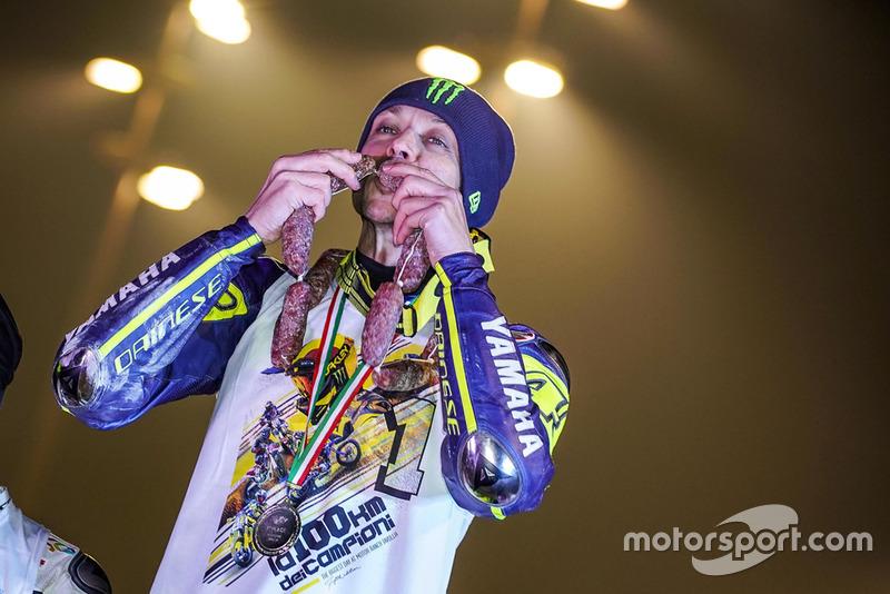 Valentino Rossi celebrates his victory