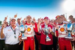 Race winner Scott McLaughlin, Team Penske Ford, second place  Fabian Coulthard, Team Penske Ford, Roger Penske team owner of DJR Team Penske