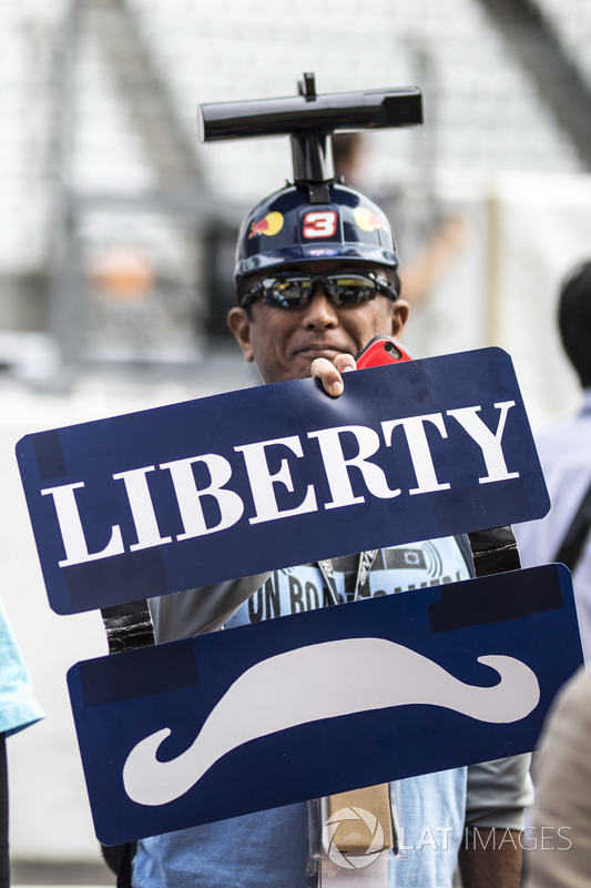 Red Bull Racing fan and Liberty Media fan and banners