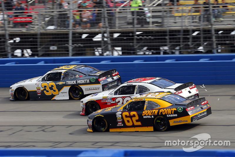 Brendan Gaughan, Richard Childress Racing, Chevrolet; Ryan Sieg, RSS Racing, Chevrolet; Brandon Jones, Richard Childress Racing, Chevrolet