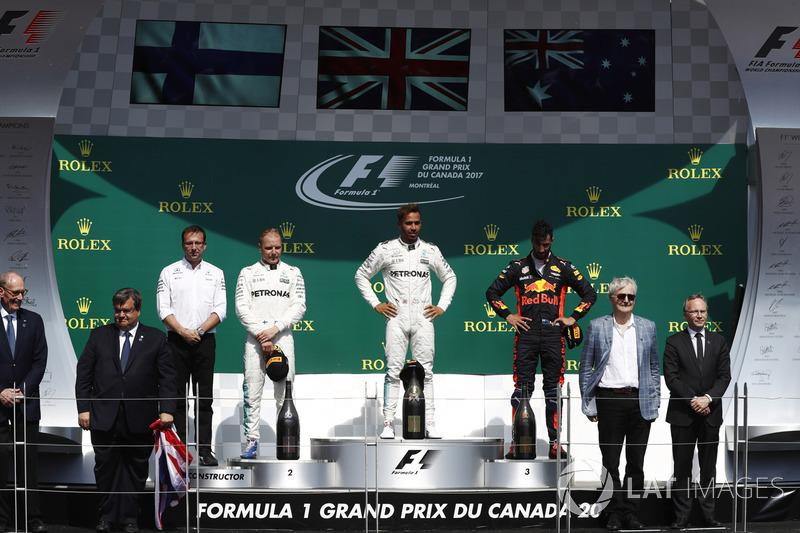 Подиум: победитель Льюис Хэмилтон, второе место – Валттери Боттас, Mercedes AMG F1, третье место – Даниэль Риккардо, Red Bull Racing