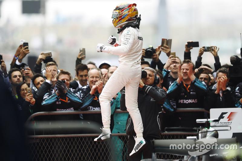 Lewis Hamilton, Mercedes AMG, celebrates in parc ferme