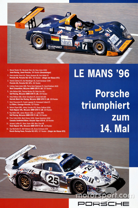 Poster Porsche 24h de Le Mans 1996