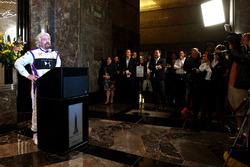 Richard Branson speaks at a press event in Manhattan
