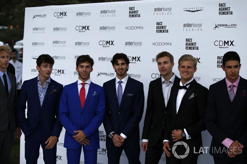 Brendon Hartley, Scuderia Toro Rosso, Charles Leclerc, Sauber, Pierre Gasly, Scuderia Toro Rosso, Antonio Giovinazzi, Ferrari, Sergey Sirotkin, Williams, Marcus Ericsson, Sauber and Esteban Ocon, Force India F1