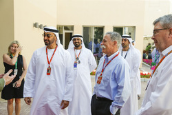 Chase Carey, Chief Executive Officer and Executive Chairman of the Formula One Group, HH General Sheikh Mohammed bin Zayed bin Sultan Al Nahyan, Crown Prince of Abu Dhabi  and Ross Brawn, Formula One Managing Director of Motorsports