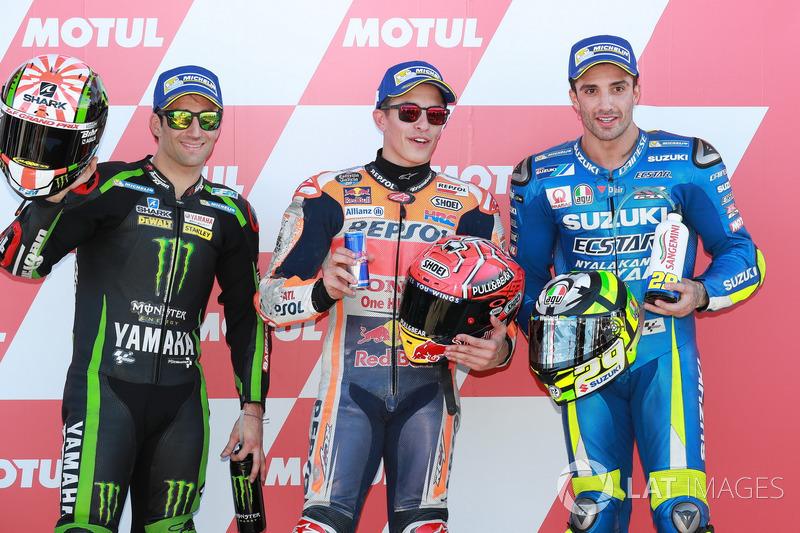 Le poleman Marc Marquez, Repsol Honda Team, Johann Zarco, Monster Yamaha Tech 3, Andrea Iannone, Team Suzuki MotoGP