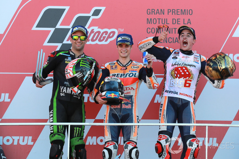 Podium: second place Johann Zarco, Monster Yamaha Tech 3, Race winner Dani Pedrosa, Repsol Honda Team, third place Marc Marquez, Repsol Honda Team