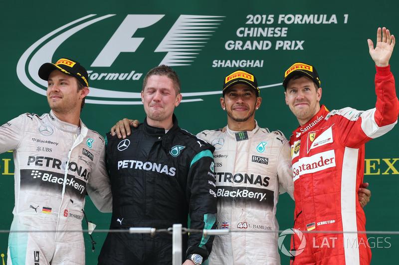 Podium: second place Nico Rosberg, Mercedes AMG F1, Race winner Lewis Hamilton, Mercedes AMG F1, third place Sebastian Vettel, Ferrari