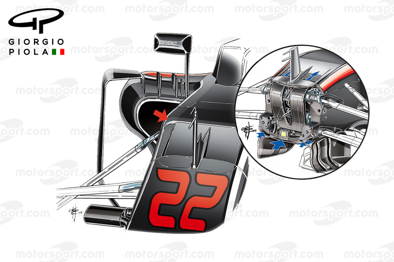 McLaren MP4/31 and MP4/30 S ducts comparison, United States GP