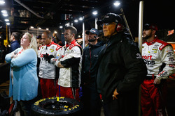 Joe Gibbs, team owner of Carl Edwards, Joe Gibbs Racing Toyota, looks on while waiting for the race to be called due to rain