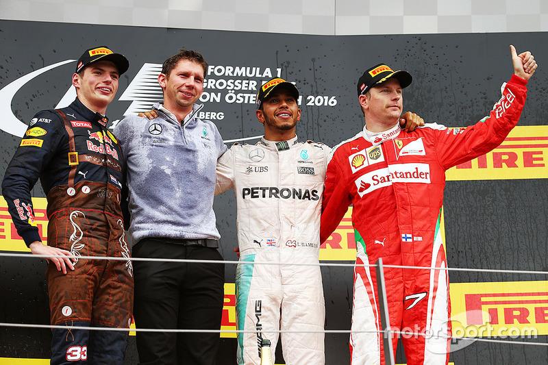 2016: 1. Lewis Hamilton, 2. Max Verstappen, 3. Kimi Räikkönen