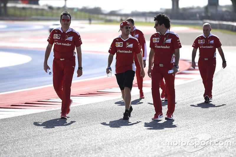 Sebastian Vettel, Ferrari walking the track