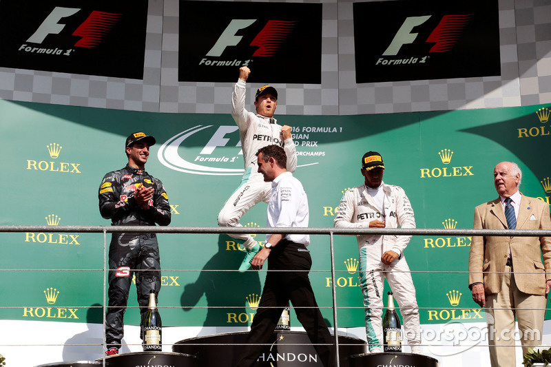 The podium (L to R): Daniel Ricciardo, Red Bull Racing, second; Nico Rosberg, Mercedes AMG F1, race