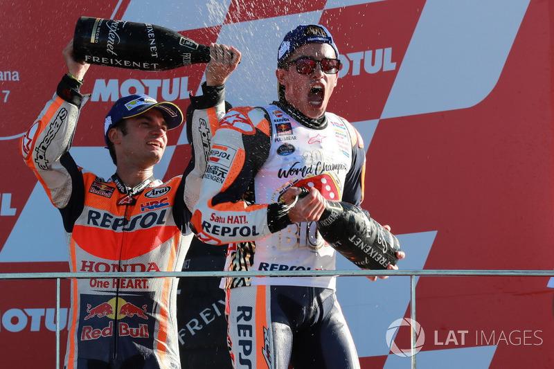 Podio: tercer lugar y campeón del mundo Marc Márquez, Repsol Honda Team