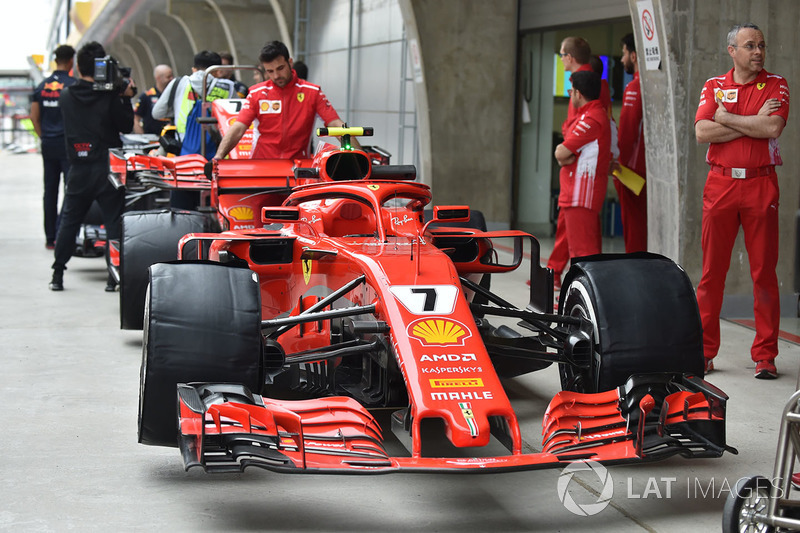 The car of Kimi Raikkonen, Ferrari SF71H in pit lane