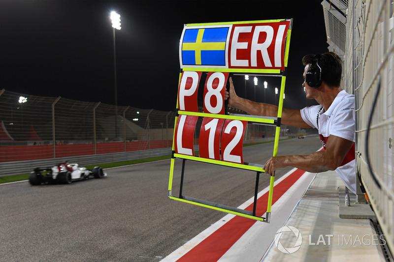 Pit board for Marcus Ericsson, Sauber C37